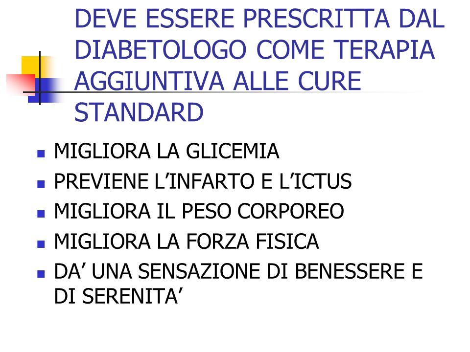 DEVE ESSERE PRESCRITTA DAL DIABETOLOGO COME TERAPIA AGGIUNTIVA ALLE CURE STANDARD