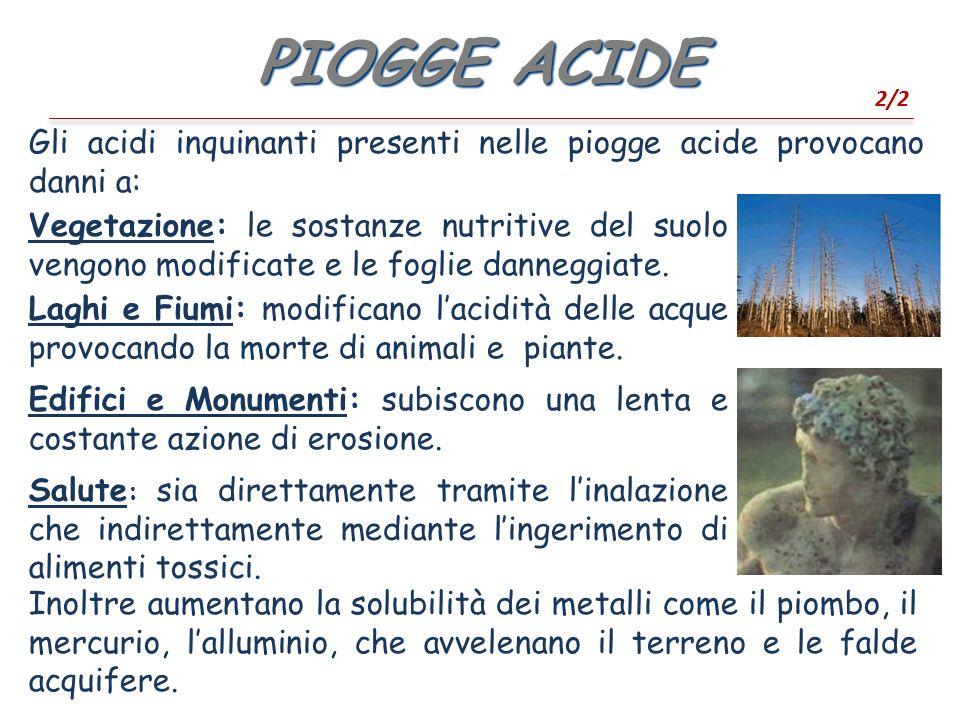 PIOGGE ACIDE 2/2. Gli acidi inquinanti presenti nelle piogge acide provocano danni a: