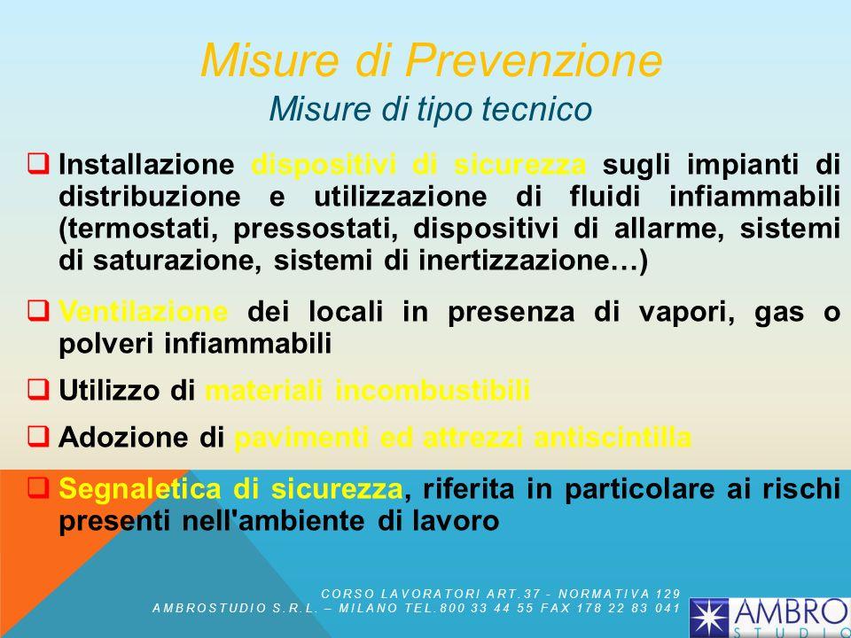 Misure di Prevenzione Misure di tipo tecnico
