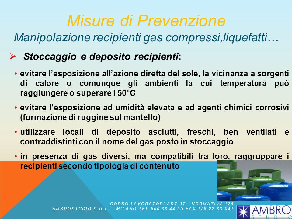 Misure di Prevenzione Manipolazione recipienti gas compressi,liquefatti…