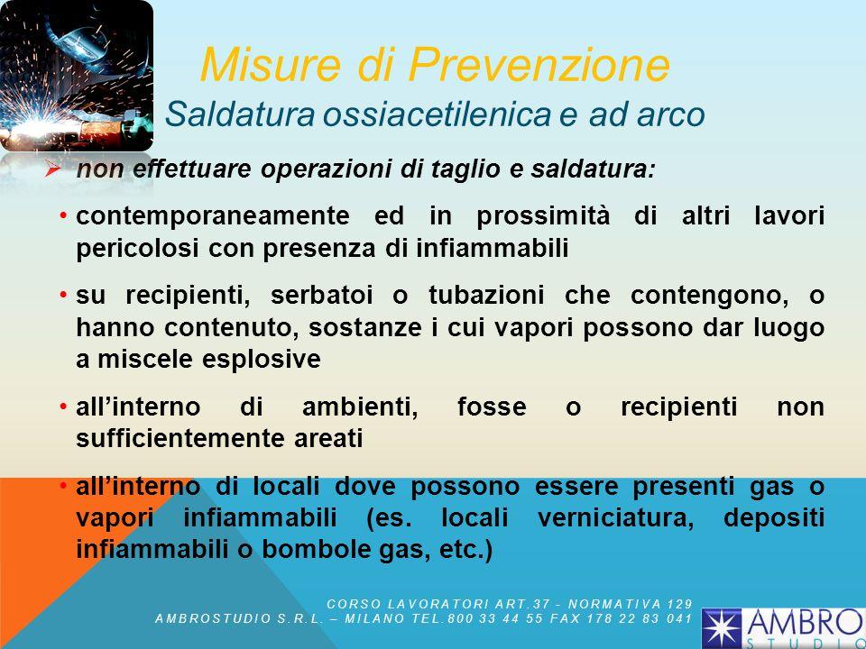 Misure di Prevenzione Saldatura ossiacetilenica e ad arco