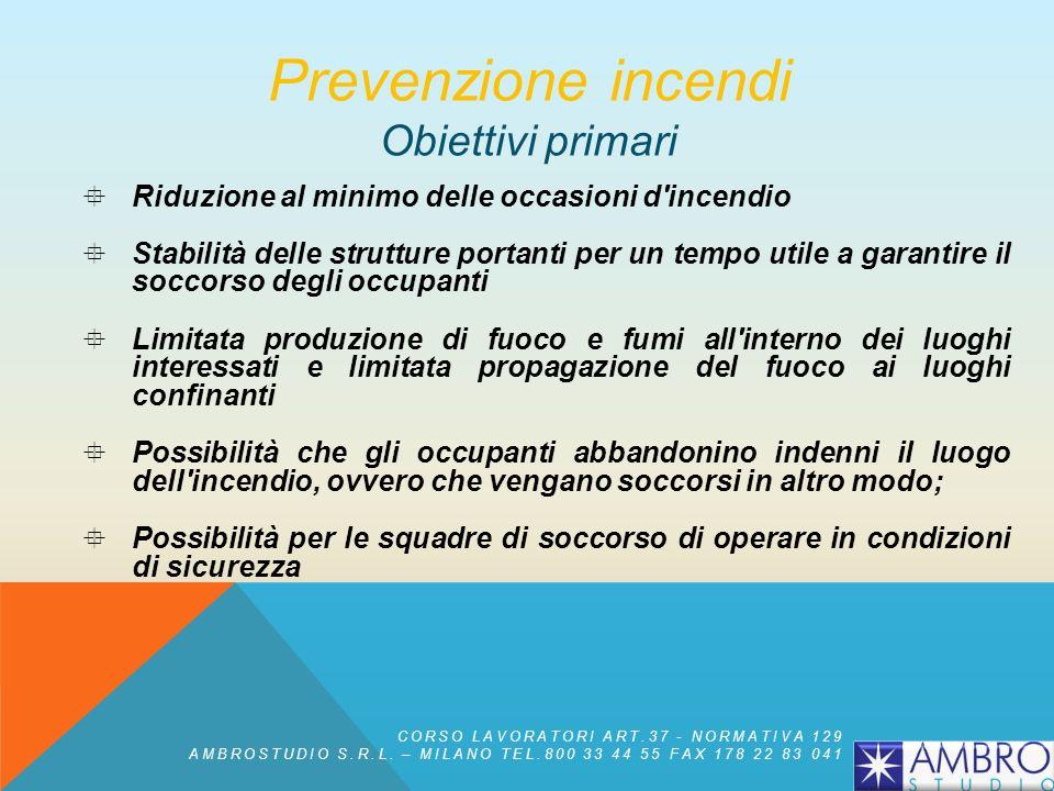 Prevenzione incendi Obiettivi primari