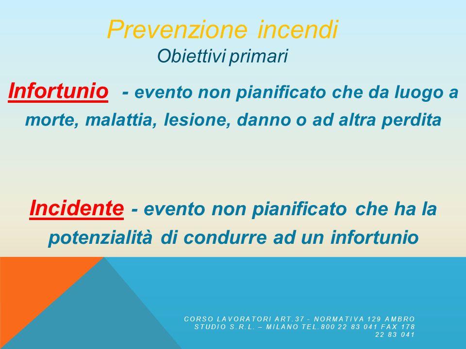 Prevenzione incendi Obiettivi primari. Infortunio - evento non pianificato che da luogo a morte, malattia, lesione, danno o ad altra perdita.