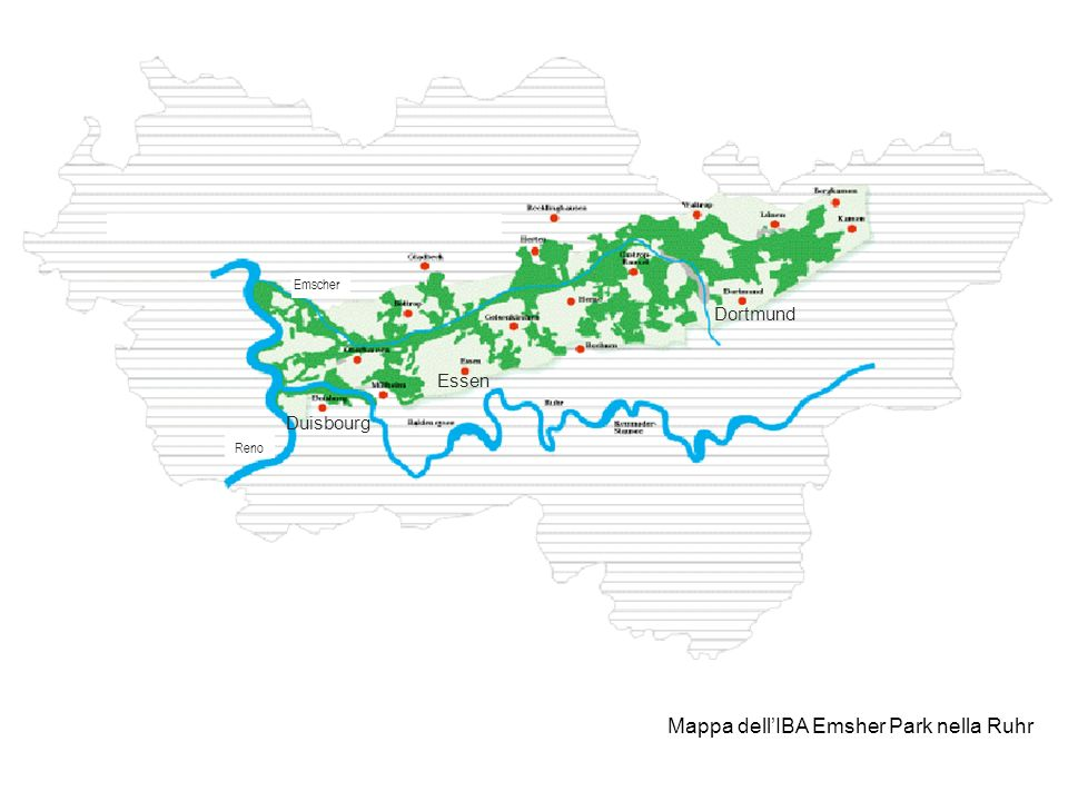 Mappa dell'IBA Emsher Park nella Ruhr