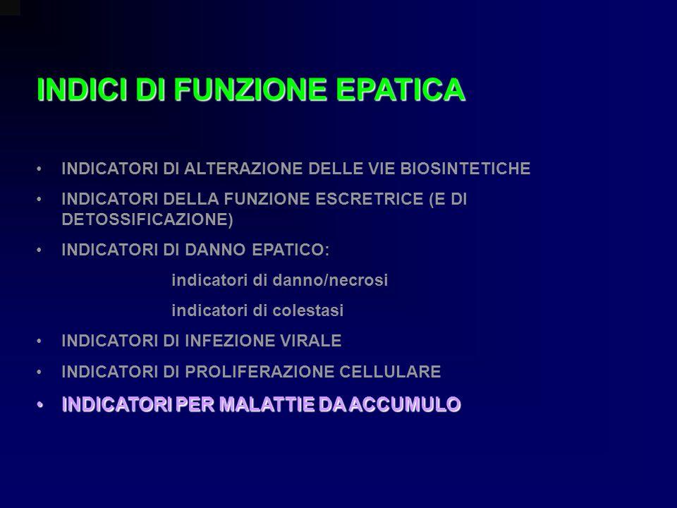 INDICI DI FUNZIONE EPATICA