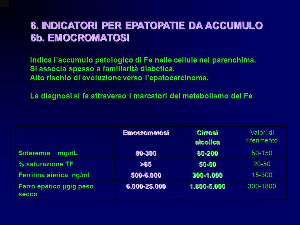 6. INDICATORI PER EPATOPATIE DA ACCUMULO 6b. EMOCROMATOSI