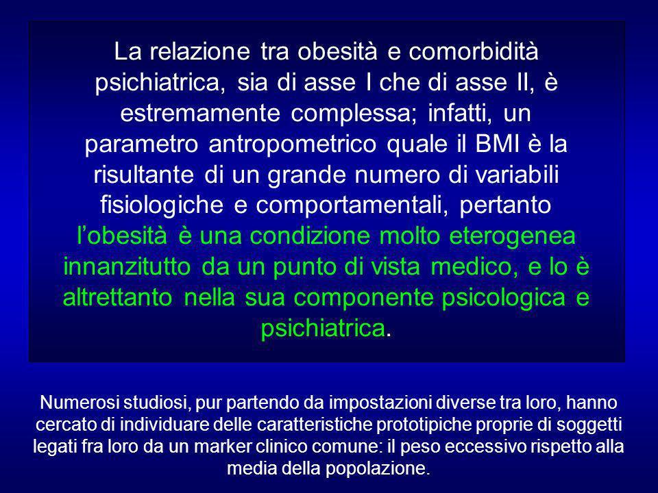 La relazione tra obesità e comorbidità psichiatrica, sia di asse I che di asse II, è estremamente complessa; infatti, un parametro antropometrico quale il BMI è la risultante di un grande numero di variabili fisiologiche e comportamentali, pertanto l'obesità è una condizione molto eterogenea innanzitutto da un punto di vista medico, e lo è altrettanto nella sua componente psicologica e psichiatrica.