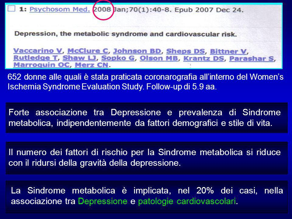 652 donne alle quali è stata praticata coronarografia all'interno del Women's Ischemia Syndrome Evaluation Study. Follow-up di 5.9 aa.