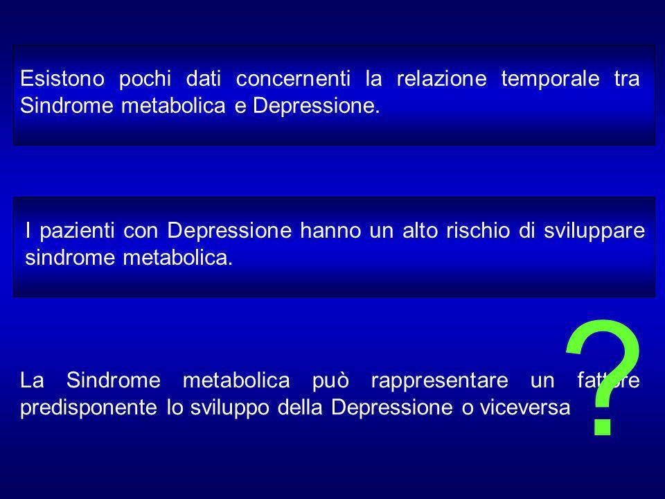 Esistono pochi dati concernenti la relazione temporale tra Sindrome metabolica e Depressione.