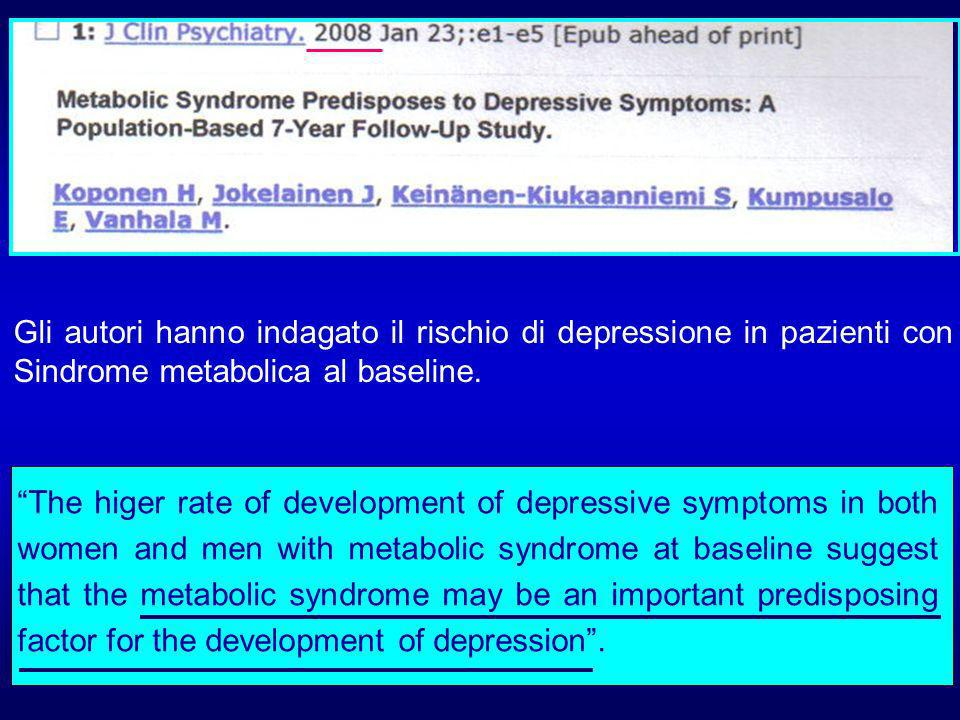 Gli autori hanno indagato il rischio di depressione in pazienti con Sindrome metabolica al baseline.