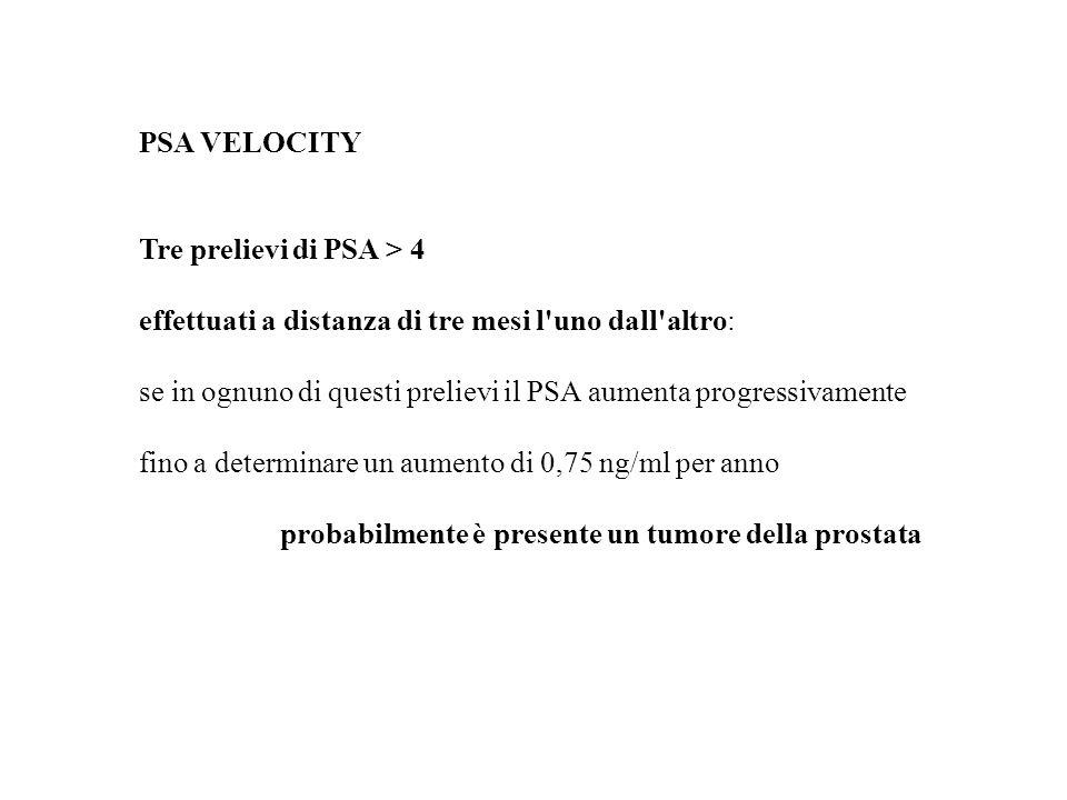 PSA VELOCITY Tre prelievi di PSA > 4. effettuati a distanza di tre mesi l uno dall altro: