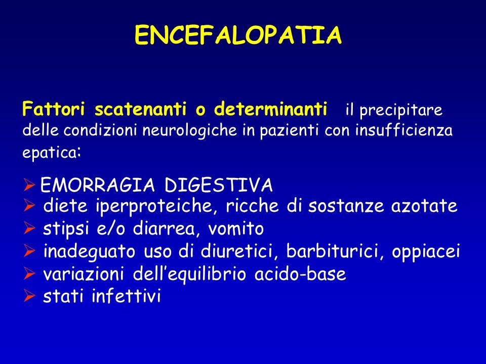 ENCEFALOPATIA Fattori scatenanti o determinanti il precipitare delle condizioni neurologiche in pazienti con insufficienza epatica: