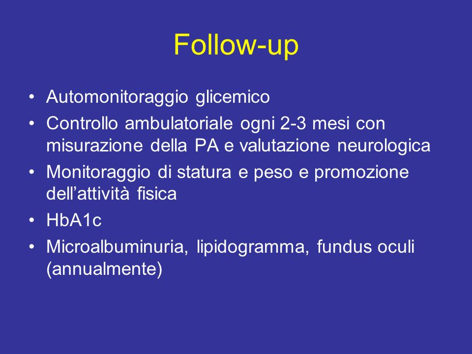 Follow-up Automonitoraggio glicemico