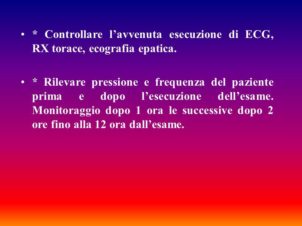 * Controllare l'avvenuta esecuzione di ECG, RX torace, ecografia epatica.