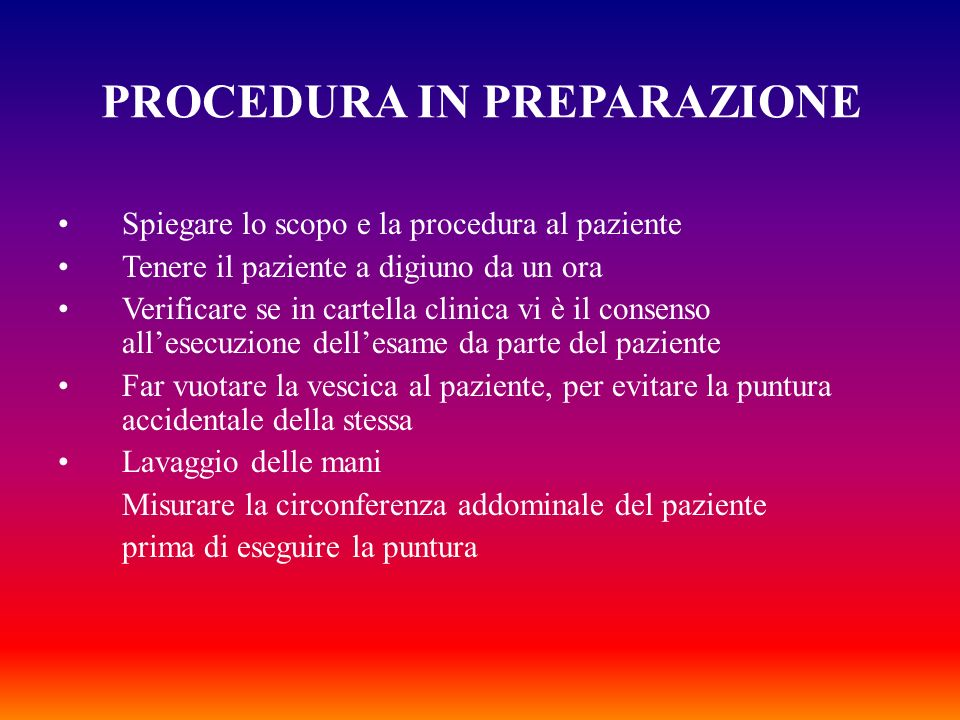 PROCEDURA IN PREPARAZIONE