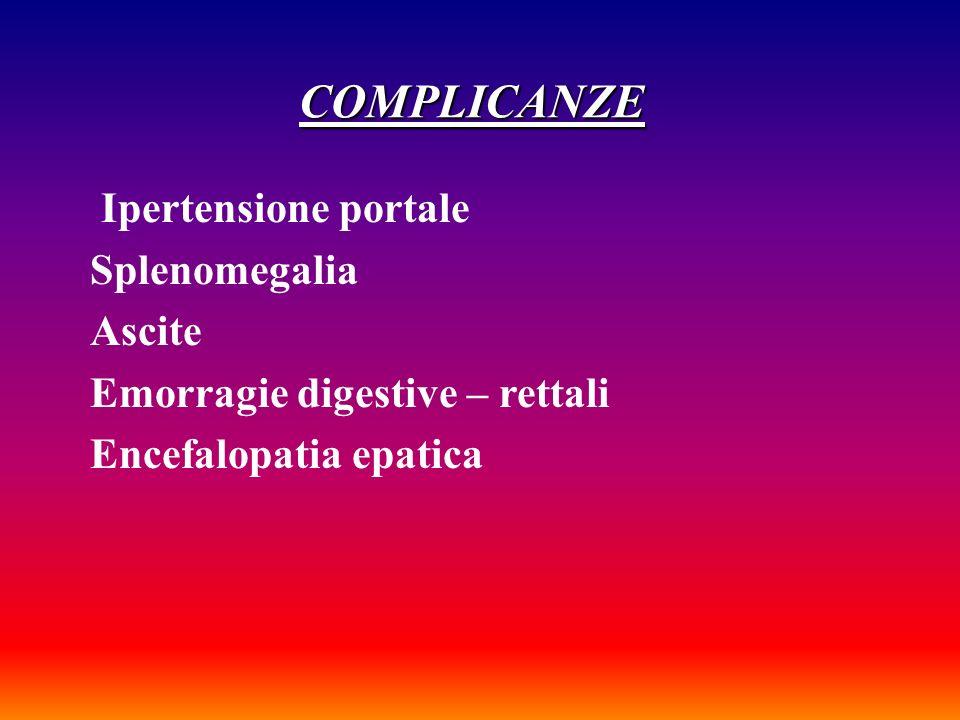 COMPLICANZE Ipertensione portale Splenomegalia Ascite