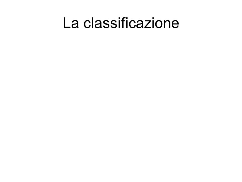 La classificazione