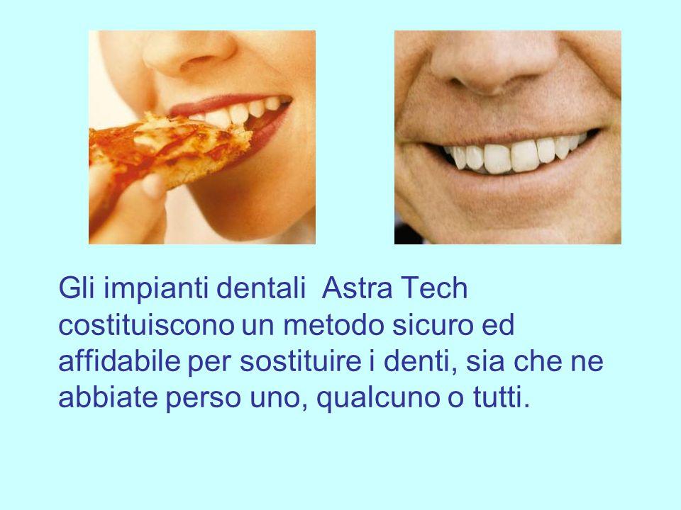 Gli impianti dentali Astra Tech costituiscono un metodo sicuro ed affidabile per sostituire i denti, sia che ne abbiate perso uno, qualcuno o tutti.