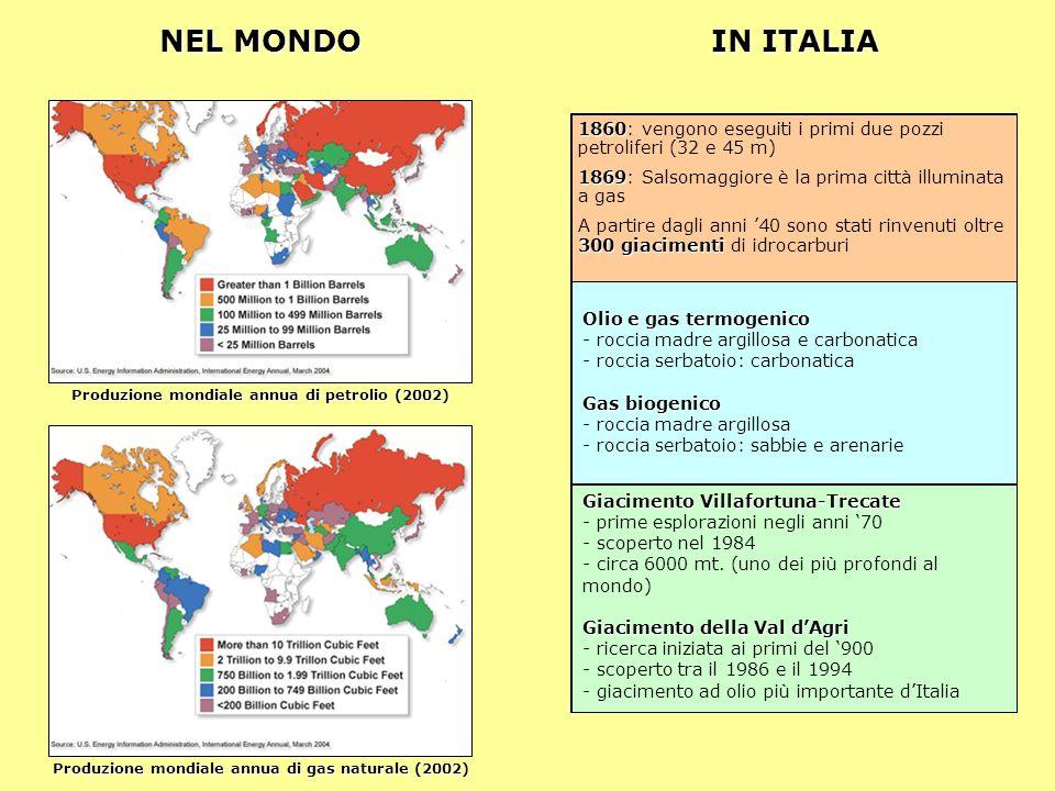 NEL MONDO IN ITALIA. 1860: vengono eseguiti i primi due pozzi petroliferi (32 e 45 m) 1869: Salsomaggiore è la prima città illuminata a gas.