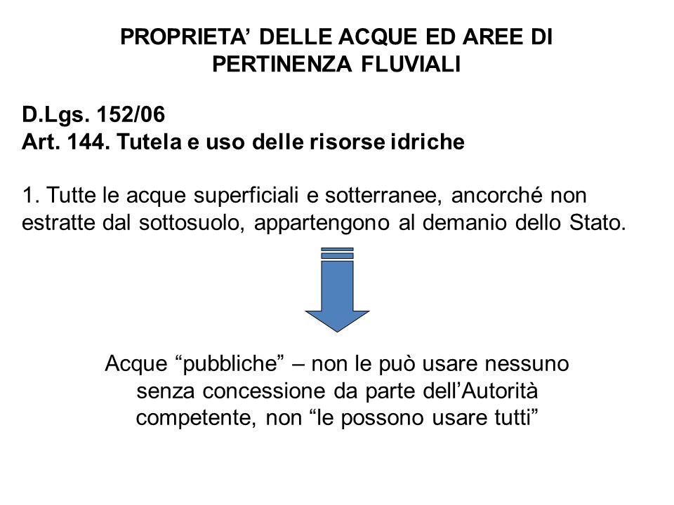 PROPRIETA' DELLE ACQUE ED AREE DI PERTINENZA FLUVIALI