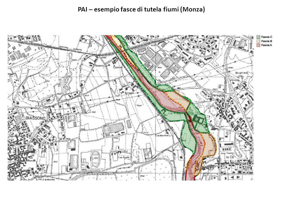 PAI – esempio fasce di tutela fiumi (Monza)