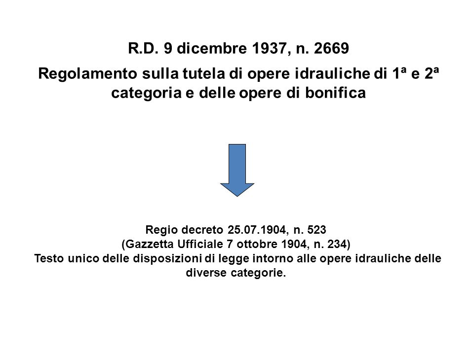 R.D. 9 dicembre 1937, n. 2669 Regolamento sulla tutela di opere idrauliche di 1ª e 2ª categoria e delle opere di bonifica.