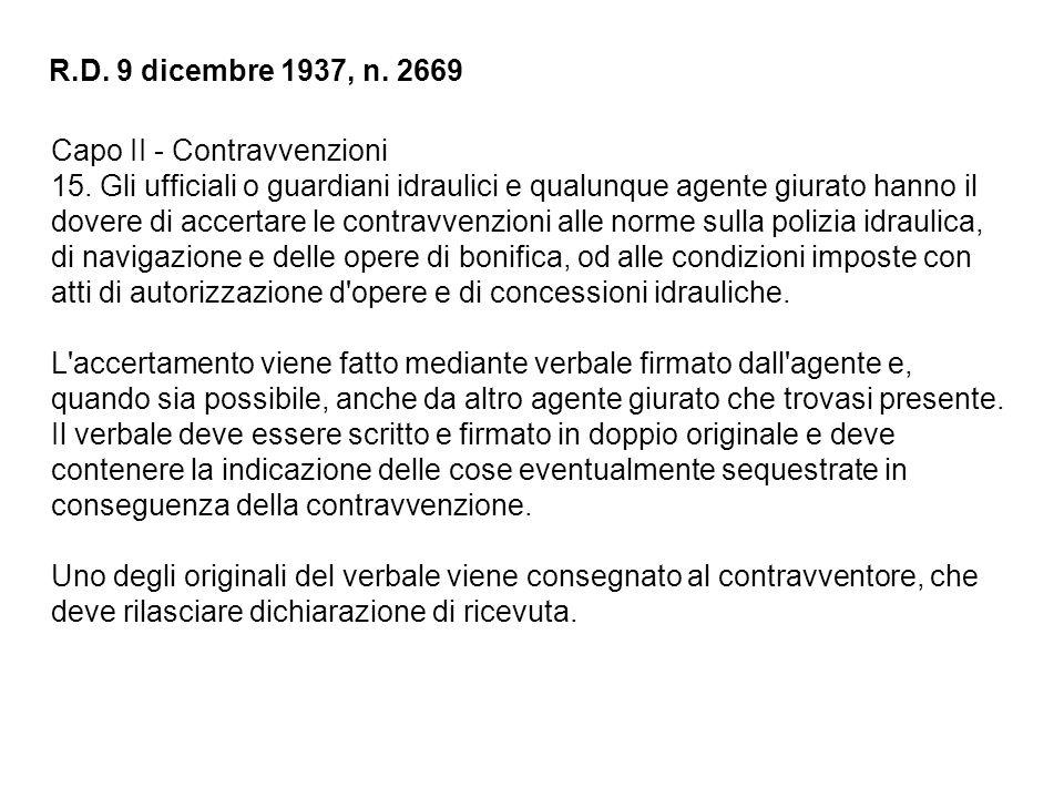 R.D. 9 dicembre 1937, n. 2669 Capo II - Contravvenzioni.