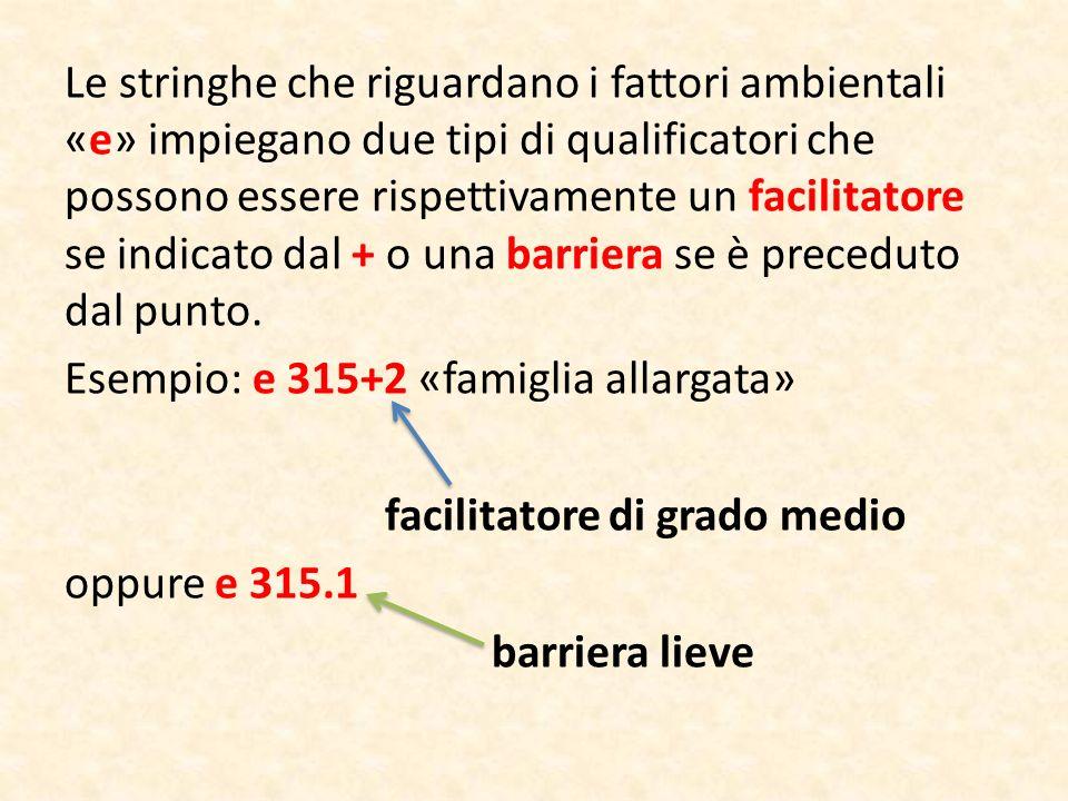 Le stringhe che riguardano i fattori ambientali «e» impiegano due tipi di qualificatori che possono essere rispettivamente un facilitatore se indicato dal + o una barriera se è preceduto dal punto.