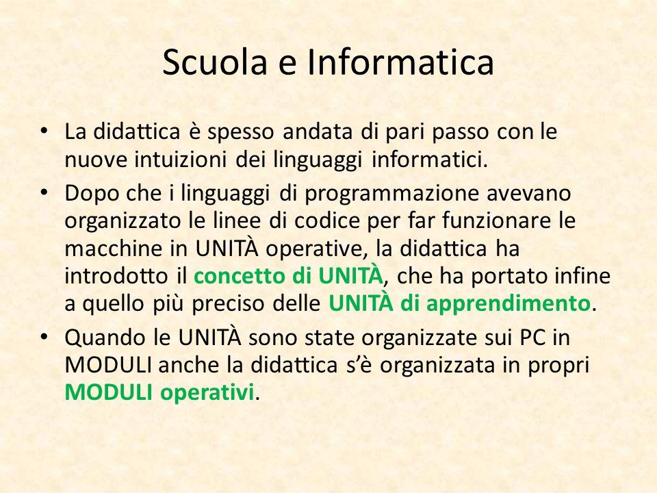 Scuola e Informatica La didattica è spesso andata di pari passo con le nuove intuizioni dei linguaggi informatici.
