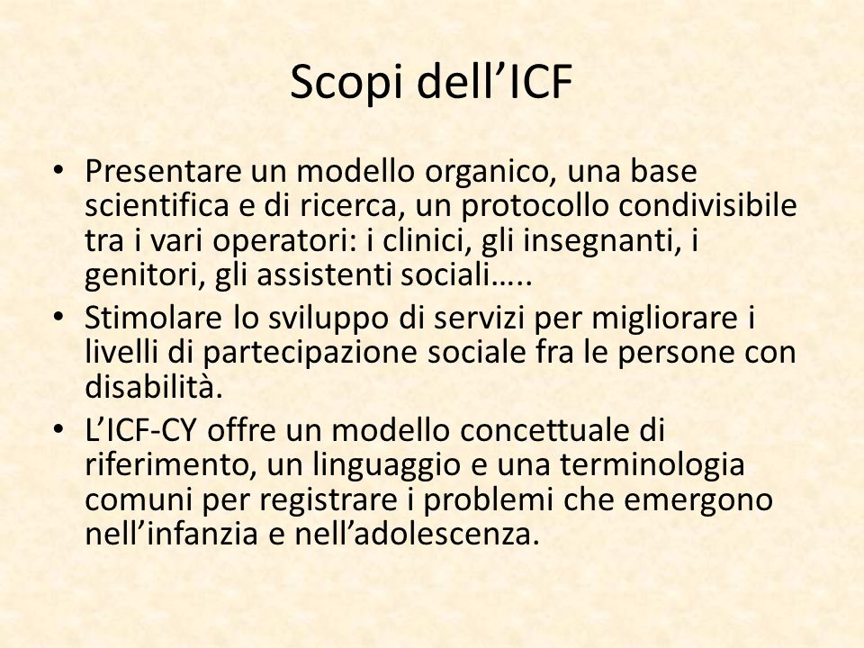Scopi dell'ICF
