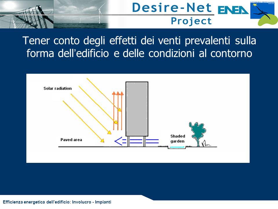 Tener conto degli effetti dei venti prevalenti sulla forma dell'edificio e delle condizioni al contorno