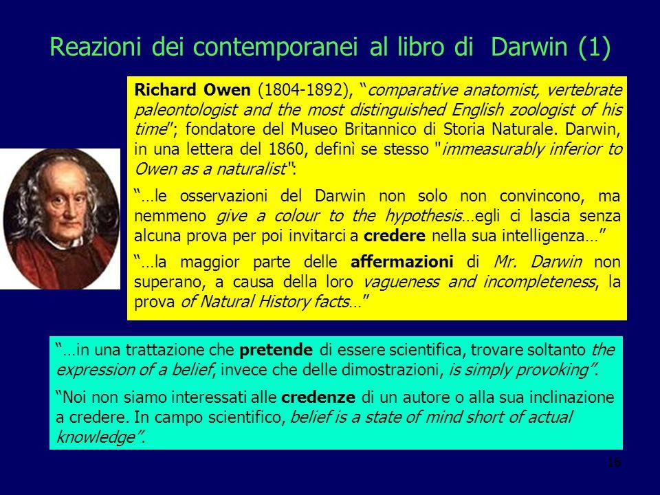 Reazioni dei contemporanei al libro di Darwin (1)