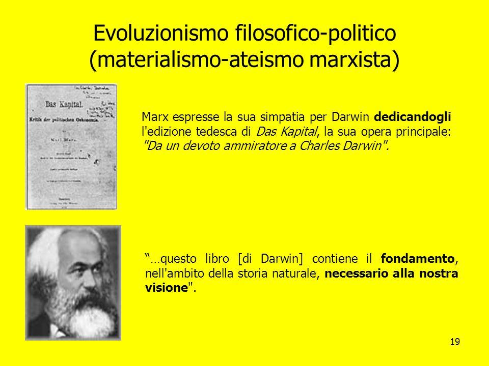 Evoluzionismo filosofico-politico (materialismo-ateismo marxista)