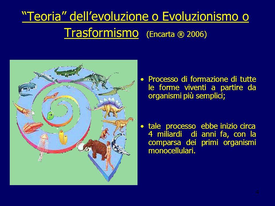 Teoria dell'evoluzione o Evoluzionismo o Trasformismo (Encarta ® 2006)