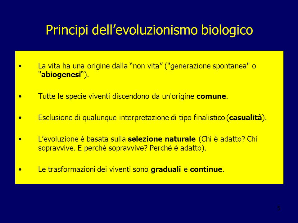 Principi dell'evoluzionismo biologico