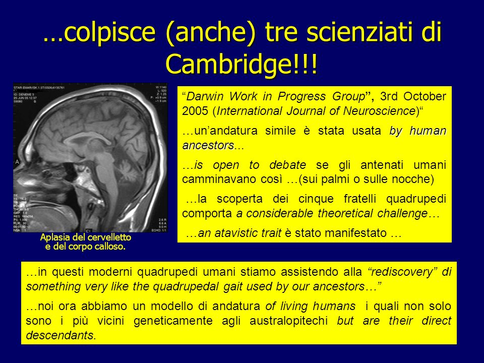 …colpisce (anche) tre scienziati di Cambridge!!!