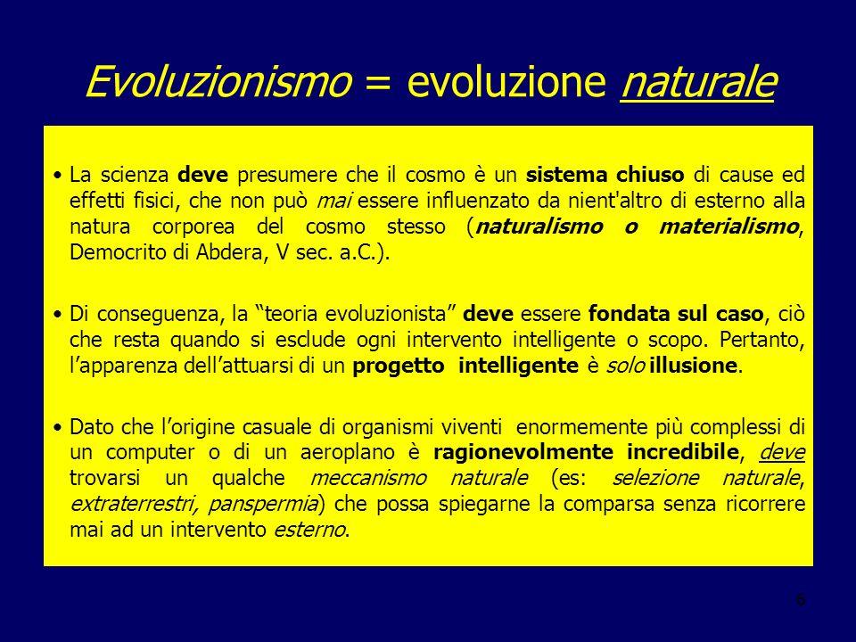 Evoluzionismo = evoluzione naturale