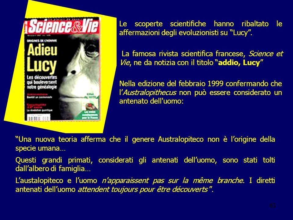 Le scoperte scientifiche hanno ribaltato le affermazioni degli evoluzionisti su Lucy .