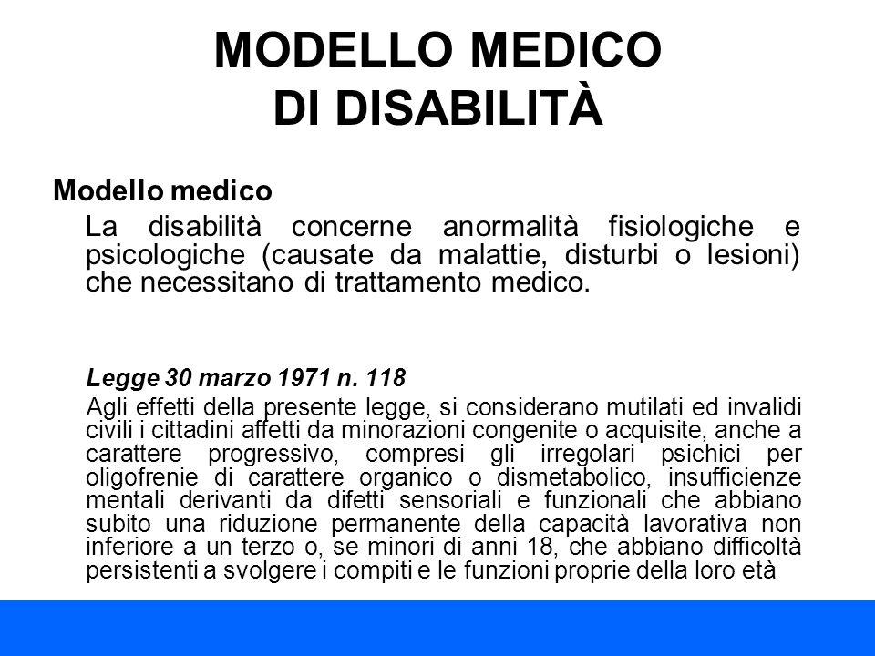 MODELLO MEDICO DI DISABILITÀ