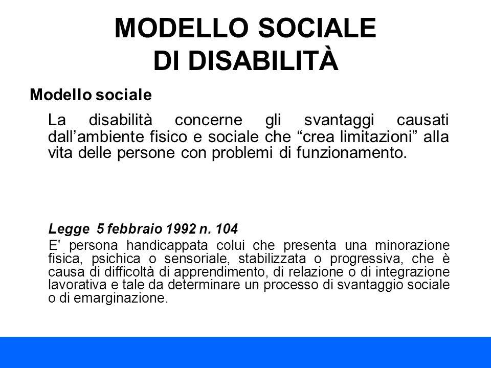 MODELLO SOCIALE DI DISABILITÀ