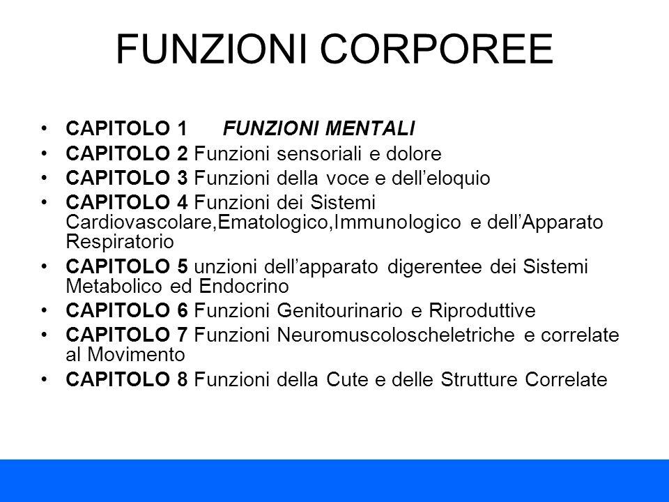 FUNZIONI CORPOREE CAPITOLO 1 FUNZIONI MENTALI