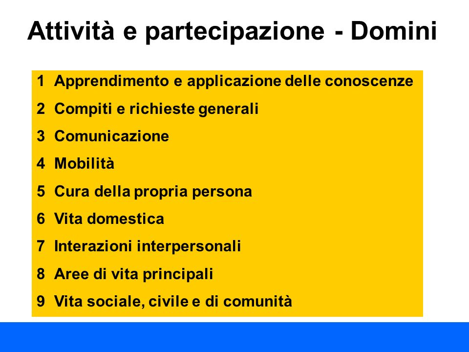 Attività e partecipazione - Domini