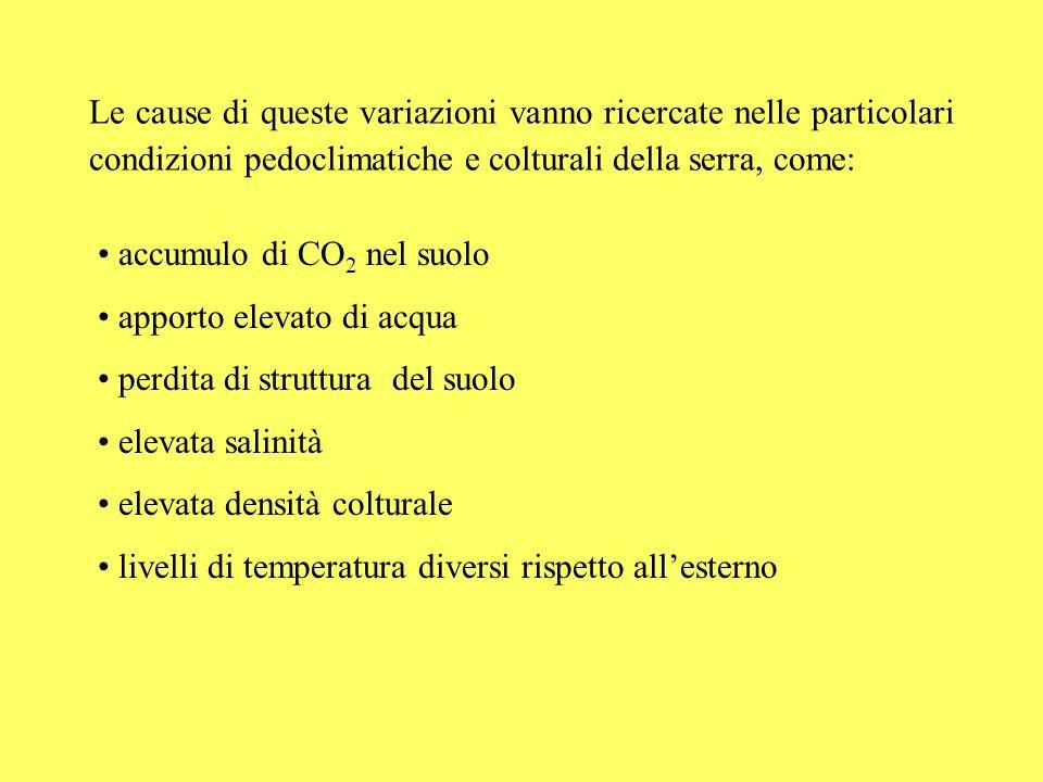 Le cause di queste variazioni vanno ricercate nelle particolari condizioni pedoclimatiche e colturali della serra, come: