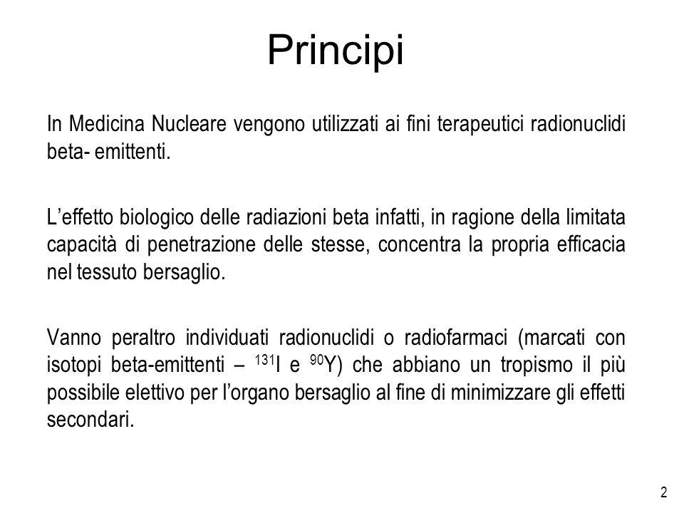 Principi In Medicina Nucleare vengono utilizzati ai fini terapeutici radionuclidi beta- emittenti.