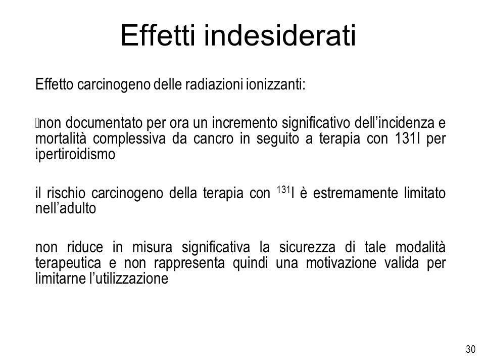 Effetti indesiderati Effetto carcinogeno delle radiazioni ionizzanti: