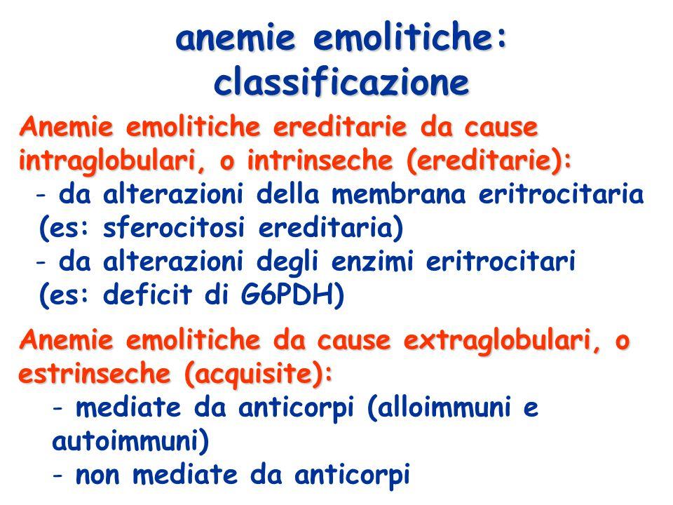 anemie emolitiche: classificazione