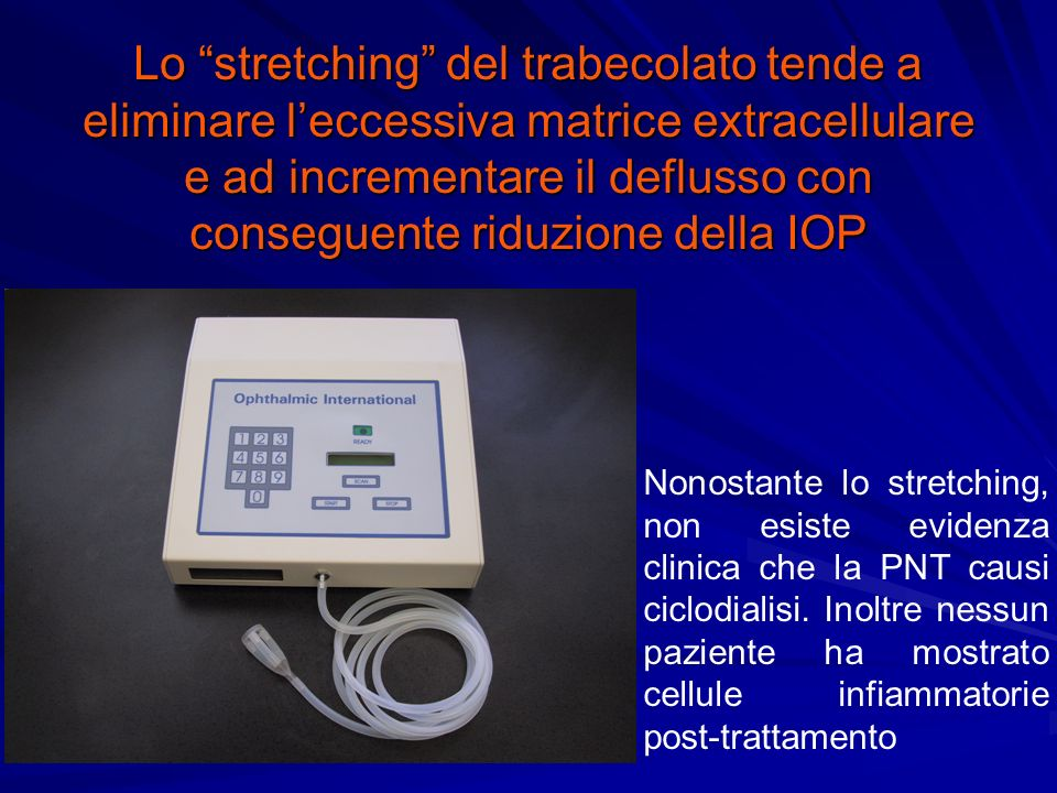 Lo stretching del trabecolato tende a eliminare l'eccessiva matrice extracellulare e ad incrementare il deflusso con conseguente riduzione della IOP