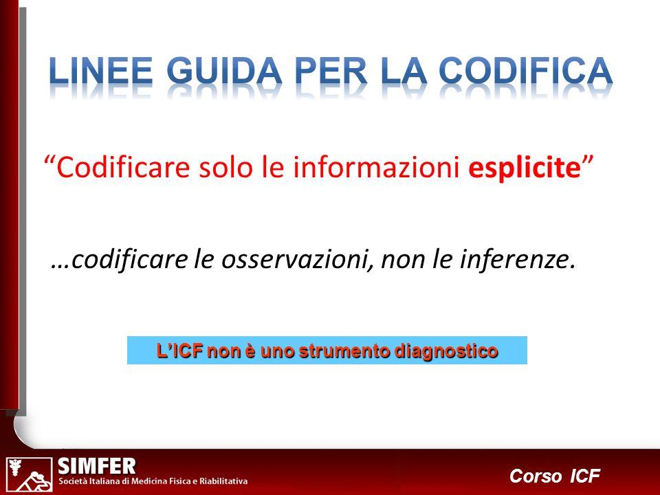 LINEE GUIDA PER LA CODIFICA L'ICF non è uno strumento diagnostico