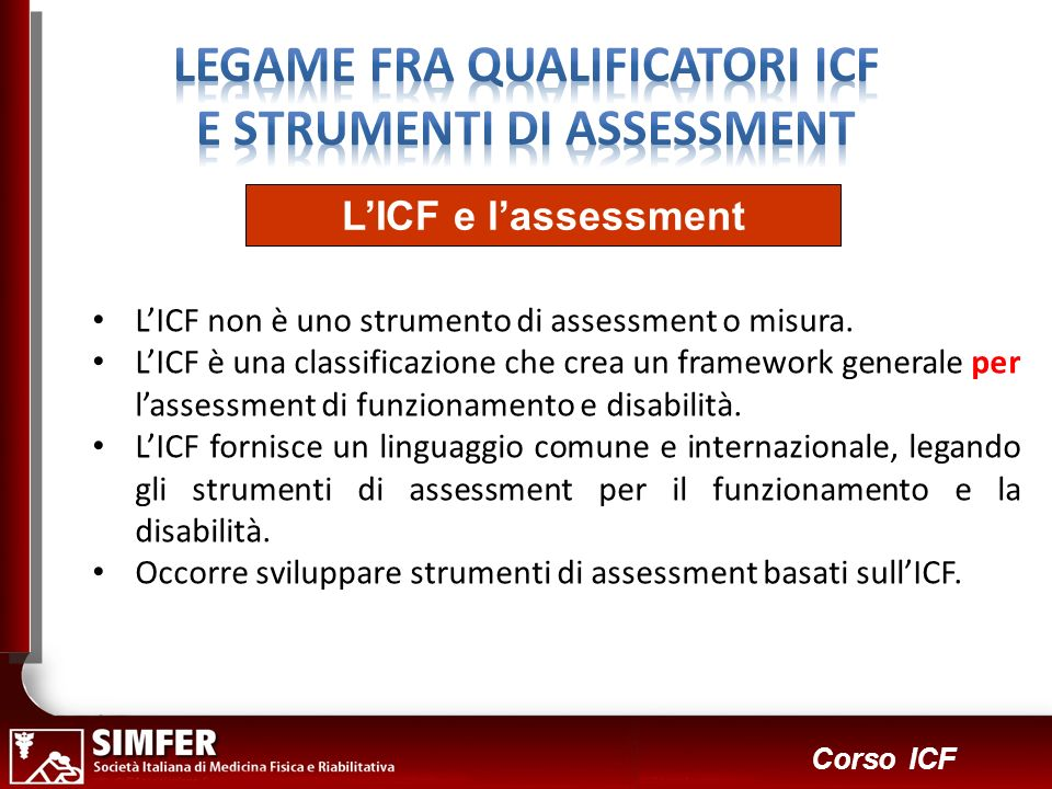 LEGAME FRA QUALIFICATORI ICF E STRUMENTI DI ASSESSMENT