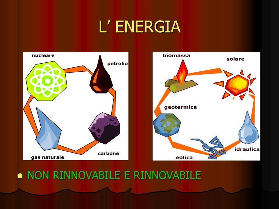 L' ENERGIA NON RINNOVABILE E RINNOVABILE
